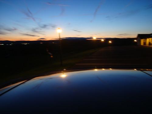 light sunset sky ny newyork reflection car howecavern
