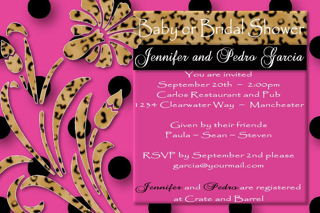 Pink Leopard Print Baby Shower Invitations - Custom Invitations