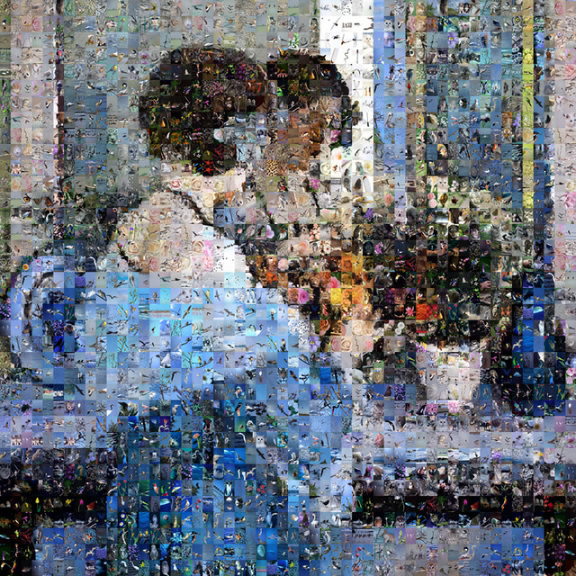 Girl in Blue Arranging Flowers