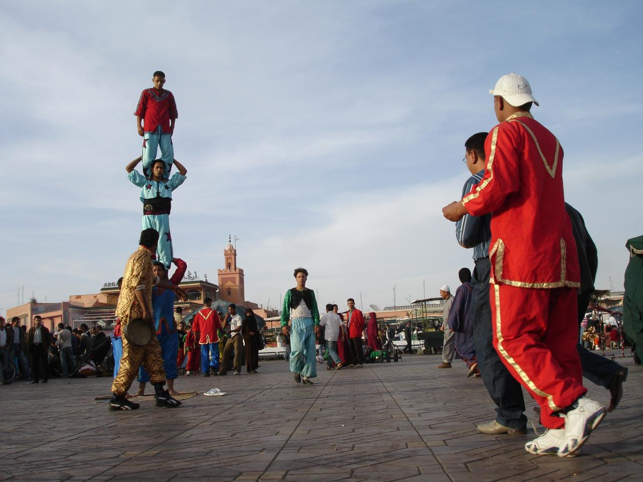 Acrobats in Jemaa el-Fnaa square in Marrakech