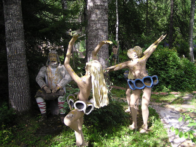 Statues dancing and playing Kantele