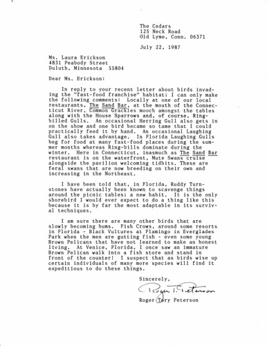Letter from Roger Tory Peterson