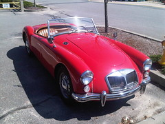 automobile, vehicle, mg mga, antique car, classic car, vintage car, land vehicle, luxury vehicle, sports car,