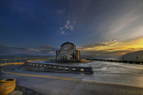 Sunrise at Vista House on Crown Point Oregon - HDR