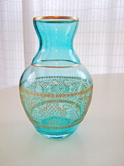art, decor, turquoise, glass bottle, aqua, turquoise, teal, azure, glass, vase,