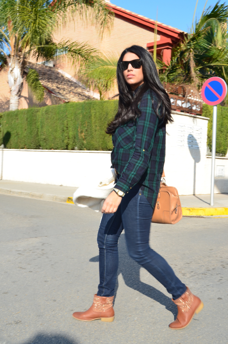 florenciablog chaqueta fieltro inspiration tartan cream jacket casual look bloggers gandia (10)