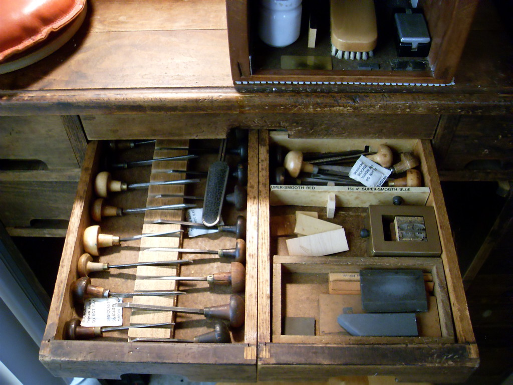 Wood Engraver's Bench and Tools