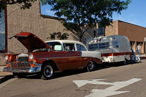 '56 Chevy with vintage trailer and motorcycle