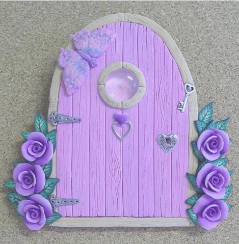 Pale pink fairy door with purple roses flickr photo for Pink fairy door