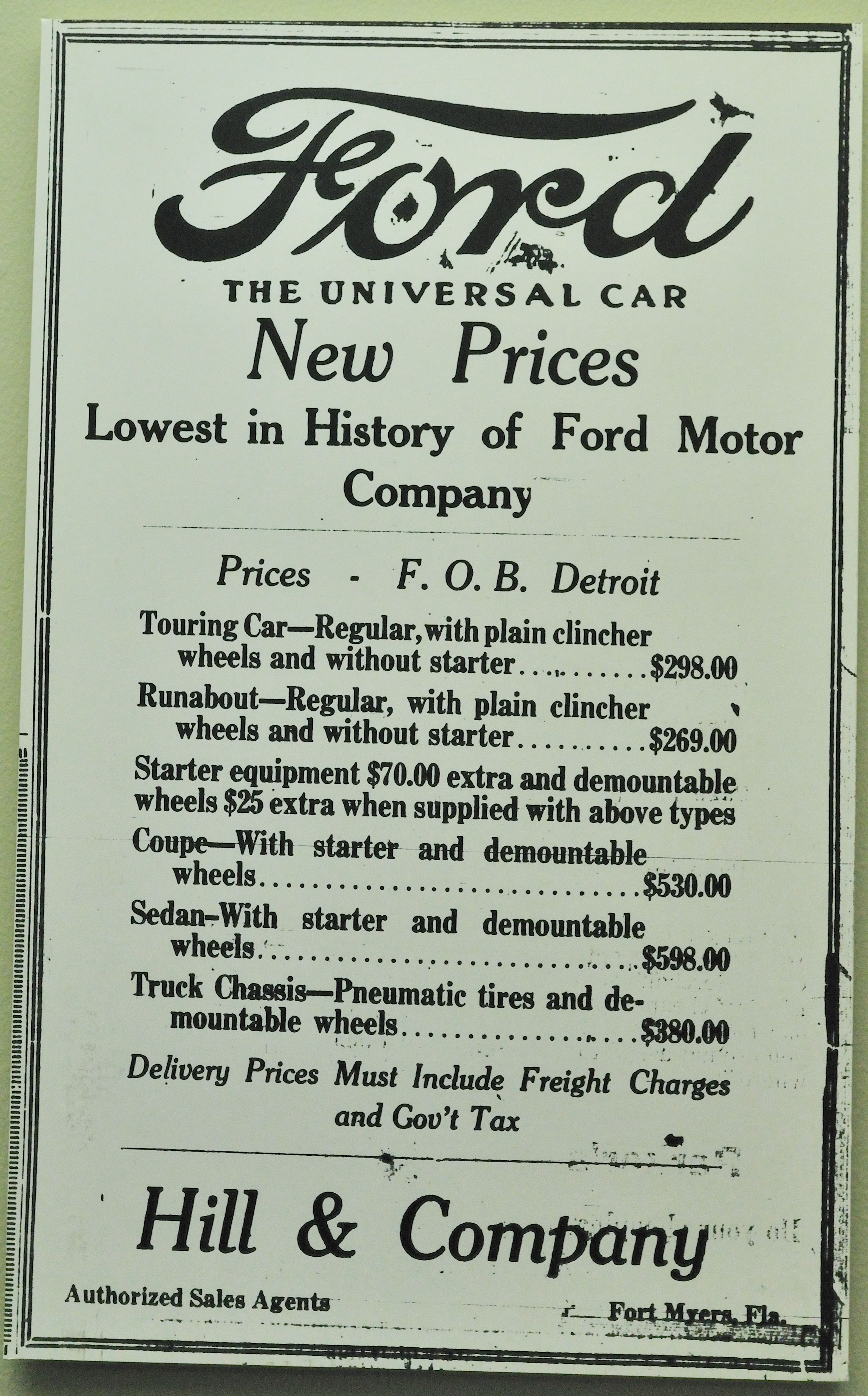 Advertisement for lowest priced automobiles in the history for Ford motor company history