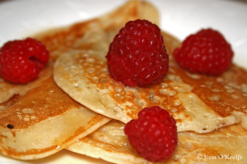 American Pancakes with Raspberries and Maple Syrup