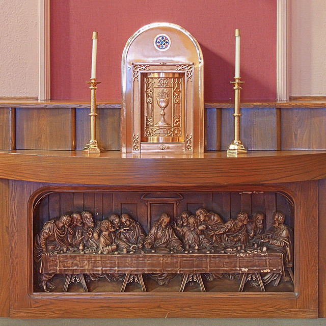 Sacred Heart Roman Catholic Church, in Crystal City, Missouri, USA - Tabernacle and Last Supper
