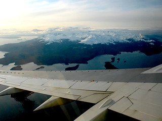 Airplane Wing Mountains Snow Water