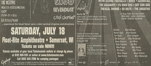 07/18/98 Ozzfest/ Vans Warped Tour @ Float-Rite Amphitheatre, Somerset, WI (Bottom Ad)
