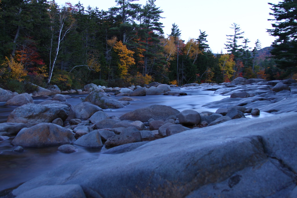 kancamagus river after dusk
