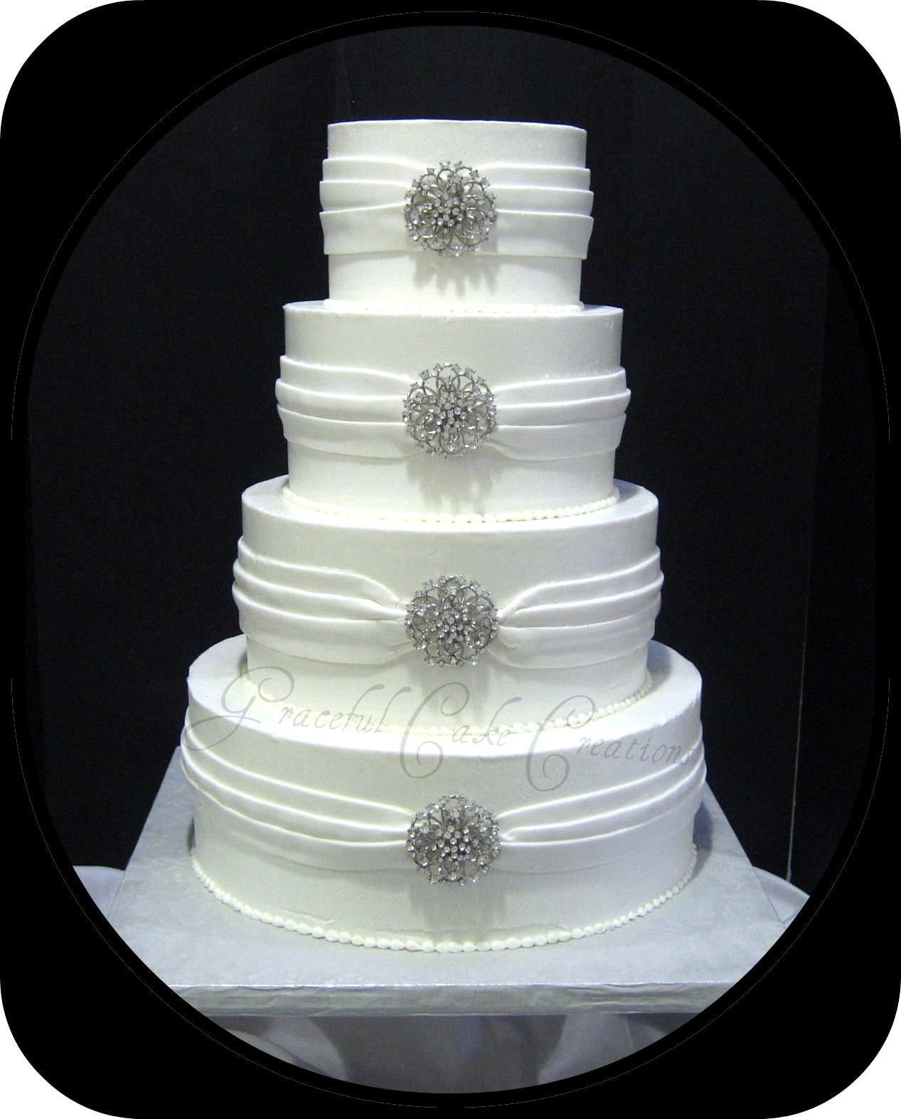 elegant white and silver wedding cakes white wedding cake with silver jewelry flickr 13999