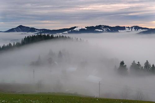 sunset sky mountains fog landscape slovenia slovenija ozbolt ožbolt tosc tošč lubnik breznica