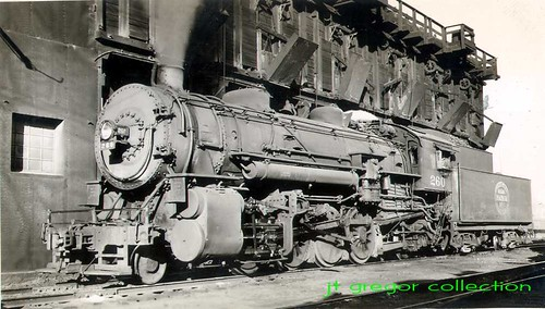Indiana Harbor Belt Railroad 2-8-2 Mikado type steam locomotive # 260 at a coaling dock. Chicago Illinois. 1949. by Eddie from Chicago