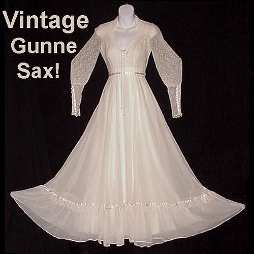 Gunne Sax Vintage Prom Gown or Bridal Maxi Bohemian Fairy Lace Up Bodice