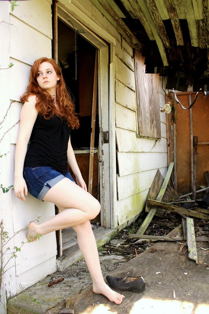 Eve redhead in a polka dot dress