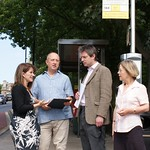 Lynne Featherstone MP campaigning with Cllrs Martin Newton and Gail Engert for bus stop on Muswell Hill to be moved