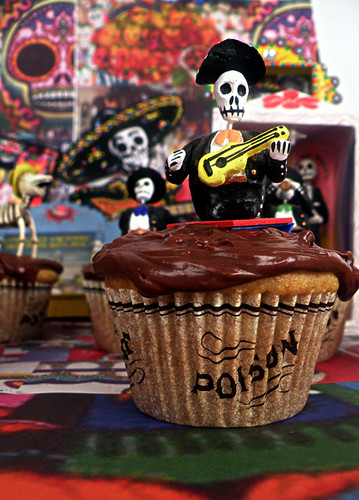 Day of the Dead White Russian Cupcakes with Chocolate Kahlua Frosting