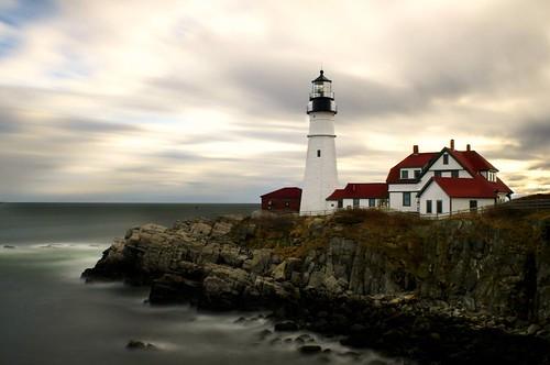 ocean lighthouse portland landscape head maine topseven