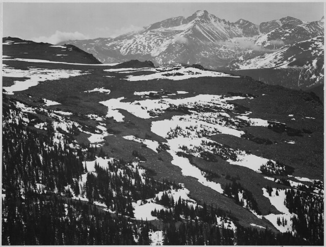"""View of plateau, snow covered mountain in background, """"Long's Peak, Rocky Mountain National Park,"""" Colorado."""