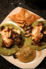 dinner: mahi mahi fish tacos on spinach tortillas, w…