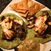 dinner: mahi mahi fish tacos on spinach tortillas, with tomatillo salsa, mushrooms, chipotle black beans, and tortilla chips   everything from scratch