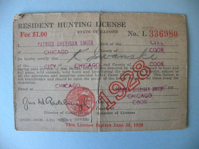 Kostanty gust iwanski 39 s 1928 illinois hunting license for Fishing license illinois