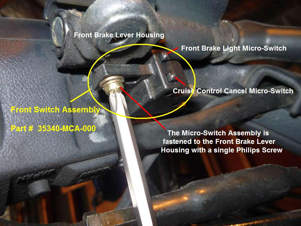 Front Brake Cruise Control Cancel Micro Switch Failed Steve Gl1800 Wiring Schematic Once You Get The Proper Two Connectors Removed From Terminals Insert Your Doubled Over Piece Of Aluminum Tin Into