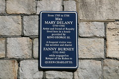 Photo of Mary Delany and Frances Burney blue plaque