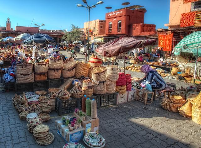Spices Square – Plaza de las Especias, Marrakech, HDR