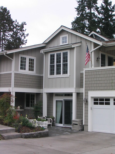 Pale mint blue or green white shutters and door beach - Coastal home exterior color schemes ...