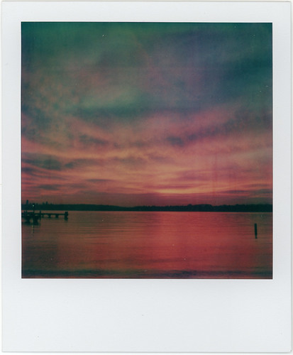 sunset sky film water clouds polaroid sx70 lakewashington instant kirkland polaroidweek roidweek artistictz roidweek2009 polaroidweek2009