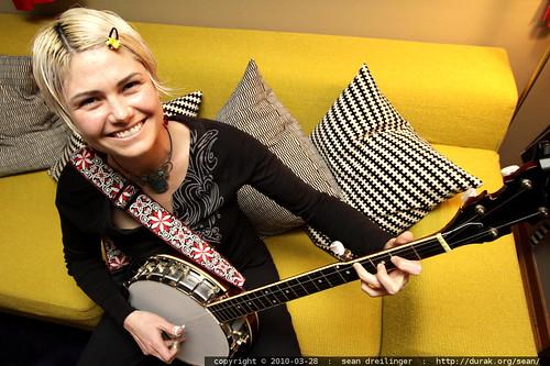 rachel practicing banjo