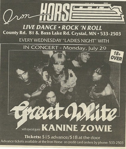 07/29/96 Great White/ Kanine Zowie @ Iron Horse, Crystal, MN