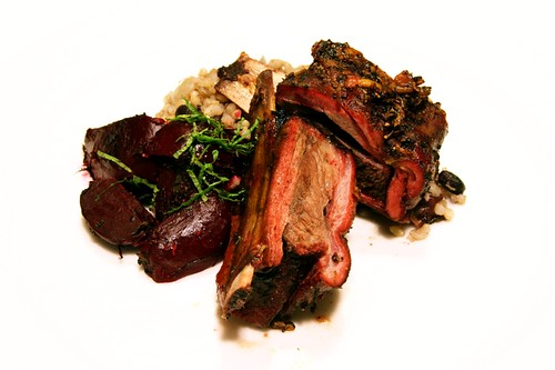 juniper and thyme-rubbed and smoked venison ribs with brown rice and beans and herbed butter roasted beets | by aarn!