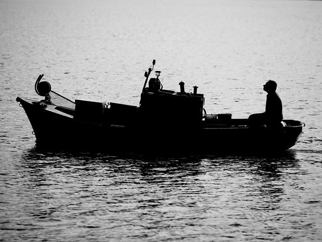 his boat