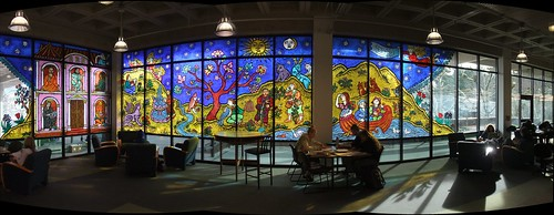 Stained glass (LARGE panorama) @ The Evergreen State College Library - Olympia WA