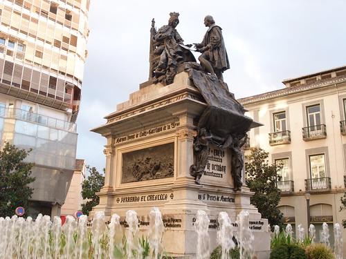 Granada-Plaza de Isabel la Católica-Monumento a Isabel la Católica y a Colón (Mariano Benlliure, 1892)-1