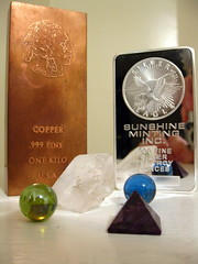 copper silver crystal pyramid tableaux