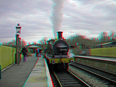 Steam Locomotive No. 592 at Kingscote Station 3D anaglyph red blue (or cyan ) glasses to view
