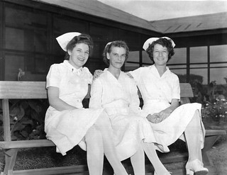 World War II nurses holding hands