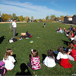Mile High Disc Golf hosts a clinic for students of Westridge Elementary School, Littleton, Colorado.