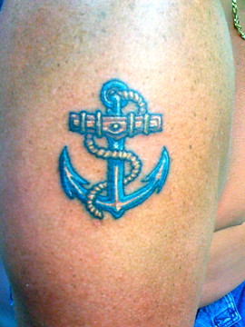 Anchor Tattoo on Blue Anchor Tattoo Blue Anchor Tattoo Custom Tattoo