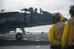 Sailors prepare to launch a U.S. Marine Corps AV-8B Harrier while aboard USS America (LHA 6), Feb. 11. (U.S. Navy/MC3 Joshua Samoluk)