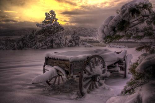 sunset lake snow storm wagon colorado denver explore chatfield littleton 200911 hdrspotting