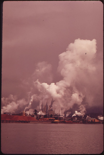 DOCUMERICA: Longview Fiber Mill on the Columbia River. Longview Is the Home of the Weyer-Hauser Company, One of the Largest Forest Operations in the World 04/1973 by David Falconer.